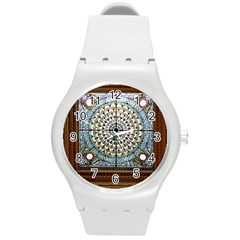 Stained Glass Window Library Of Congress Round Plastic Sport Watch (M)