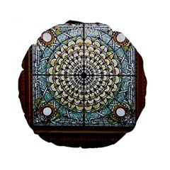Stained Glass Window Library Of Congress Standard 15  Premium Round Cushions