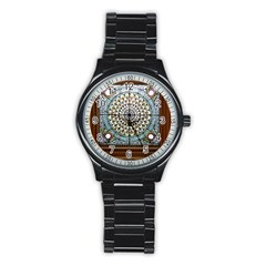 Stained Glass Window Library Of Congress Stainless Steel Round Watch