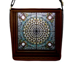 Stained Glass Window Library Of Congress Flap Messenger Bag (l)