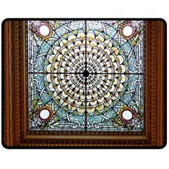 Stained Glass Window Library Of Congress Double Sided Fleece Blanket (medium)