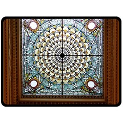 Stained Glass Window Library Of Congress Double Sided Fleece Blanket (Large)
