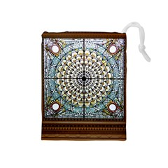 Stained Glass Window Library Of Congress Drawstring Pouches (medium)