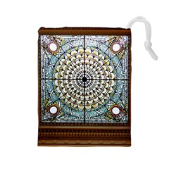 Stained Glass Window Library Of Congress Drawstring Pouches (large)