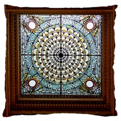 Stained Glass Window Library Of Congress Large Flano Cushion Case (one Side)