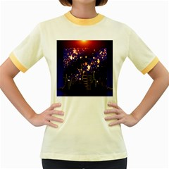 Star Advent Christmas Eve Christmas Women s Fitted Ringer T-Shirts