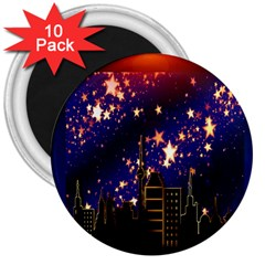 Star Advent Christmas Eve Christmas 3  Magnets (10 pack)