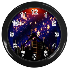 Star Advent Christmas Eve Christmas Wall Clocks (black)