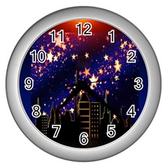Star Advent Christmas Eve Christmas Wall Clocks (Silver)
