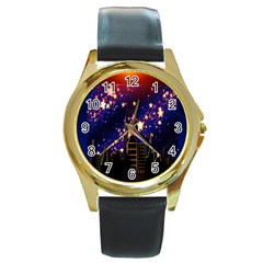 Star Advent Christmas Eve Christmas Round Gold Metal Watch