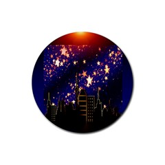 Star Advent Christmas Eve Christmas Rubber Round Coaster (4 pack)