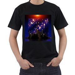 Star Advent Christmas Eve Christmas Men s T Shirt (black) (two Sided)