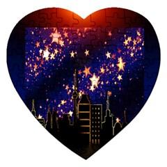 Star Advent Christmas Eve Christmas Jigsaw Puzzle (Heart)