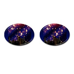 Star Advent Christmas Eve Christmas Cufflinks (Oval)