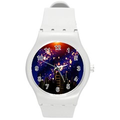 Star Advent Christmas Eve Christmas Round Plastic Sport Watch (m)