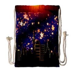 Star Advent Christmas Eve Christmas Drawstring Bag (Large)