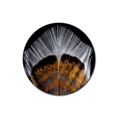 Spring Bird Feather Turkey Feather Rubber Round Coaster (4 pack)