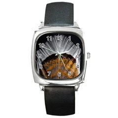 Spring Bird Feather Turkey Feather Square Metal Watch