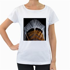 Spring Bird Feather Turkey Feather Women s Loose Fit T Shirt (white)