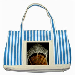 Spring Bird Feather Turkey Feather Striped Blue Tote Bag