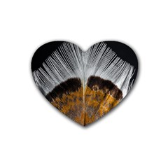 Spring Bird Feather Turkey Feather Rubber Coaster (Heart)