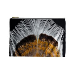 Spring Bird Feather Turkey Feather Cosmetic Bag (Large)