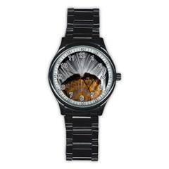 Spring Bird Feather Turkey Feather Stainless Steel Round Watch