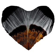 Spring Bird Feather Turkey Feather Large 19  Premium Flano Heart Shape Cushions