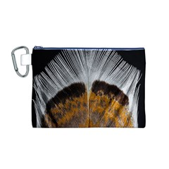 Spring Bird Feather Turkey Feather Canvas Cosmetic Bag (m)
