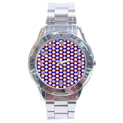 Star Pattern Stainless Steel Analogue Watch