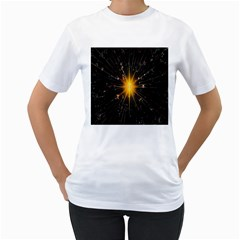 Star Christmas Advent Decoration Women s T-Shirt (White) (Two Sided)