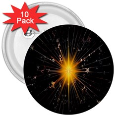 Star Christmas Advent Decoration 3  Buttons (10 pack)