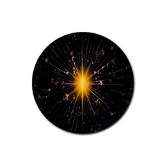 Star Christmas Advent Decoration Rubber Coaster (Round)