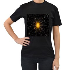 Star Christmas Advent Decoration Women s T-Shirt (Black) (Two Sided)