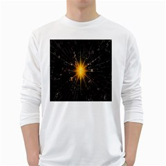 Star Christmas Advent Decoration White Long Sleeve T Shirts