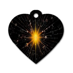 Star Christmas Advent Decoration Dog Tag Heart (One Side)