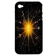 Star Christmas Advent Decoration Apple Iphone 4/4s Hardshell Case (pc+silicone)