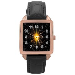 Star Christmas Advent Decoration Rose Gold Leather Watch