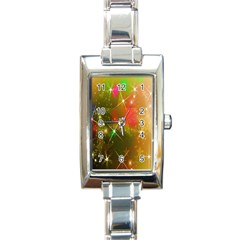 Star Christmas Background Image Red Rectangle Italian Charm Watch