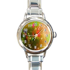 Star Christmas Background Image Red Round Italian Charm Watch