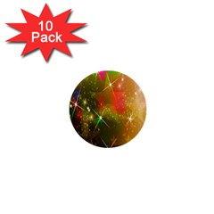 Star Christmas Background Image Red 1  Mini Buttons (10 pack)