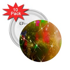 Star Christmas Background Image Red 2.25  Buttons (10 pack)
