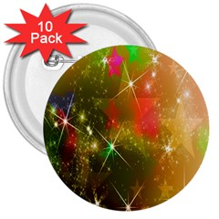 Star Christmas Background Image Red 3  Buttons (10 pack)
