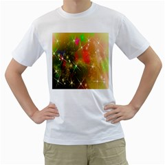 Star Christmas Background Image Red Men s T-Shirt (White) (Two Sided)