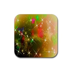 Star Christmas Background Image Red Rubber Square Coaster (4 Pack)