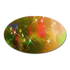 Star Christmas Background Image Red Oval Magnet