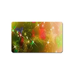 Star Christmas Background Image Red Magnet (Name Card)