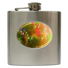 Star Christmas Background Image Red Hip Flask (6 Oz)