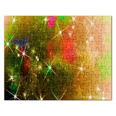 Star Christmas Background Image Red Rectangular Jigsaw Puzzl