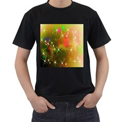 Star Christmas Background Image Red Men s T Shirt (black) (two Sided)